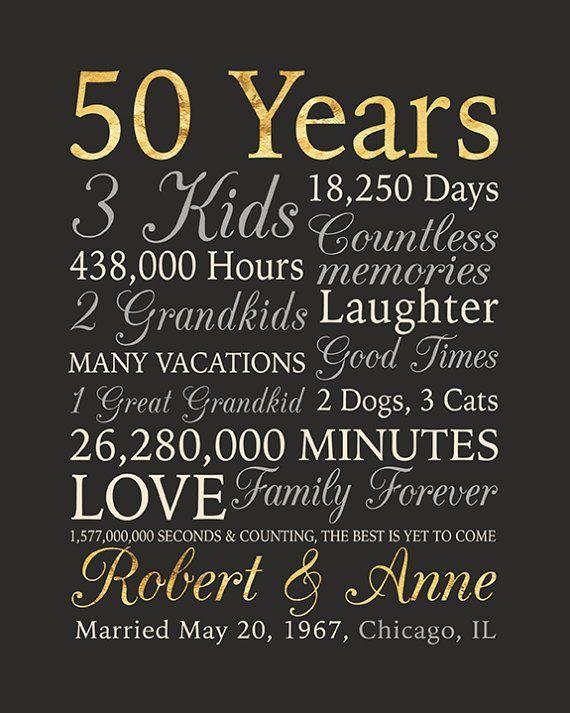 50th Anniversary Gift Gold Anniversary 50 Years Wedding