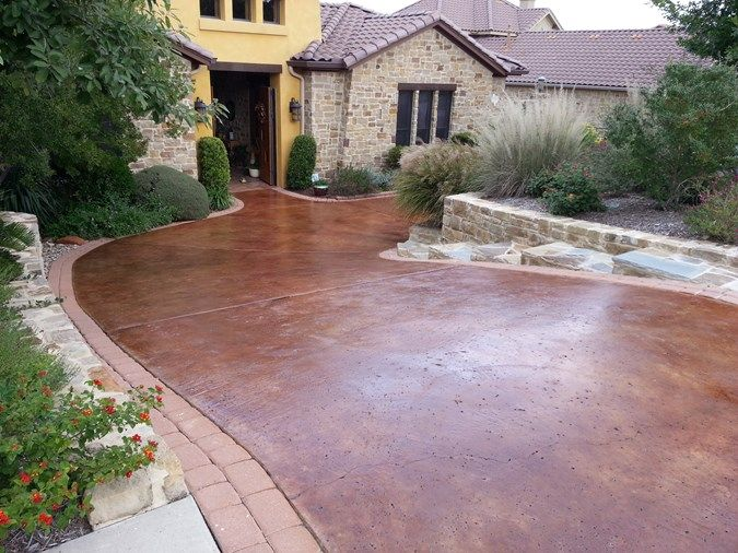 Brown Stain Rock Salt Finish Concrete Driveways Makes