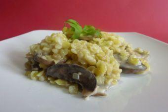 Cómo preparar risotto con mote de trigo y champiñones