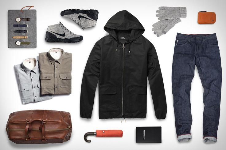 Apolis Moleskin Button Under Shirt ($168). A.P.C. Iceland Waterproof Jacket ($485). Montague Leather Weekender Bag ($475). Raleigh Denim Martin Jeans ($285). Mijlo 10-in-1 Timepiece ($247). Nike FlyKnit Trainer Chukka Shoes ($200). TouchTec Ragg Wool Gloves ($45). ShedRain for J.Crew Umbrella...