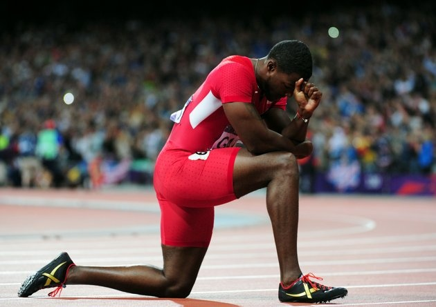 Justin Gatlin of the United States looks on after earning the bronze medal the Men's 100m Final behind Jamaica's Usain Bolt and Yohan Blake, respectively, on Sunday August 5, 2012 at Olympic Stadium in London.