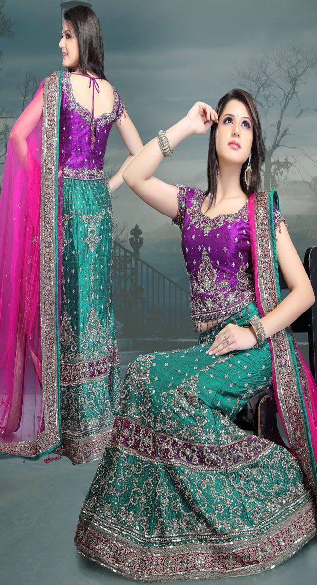 Nice Color blocking -- Attractive Teal Blue Art Silk Lehenga Choli - IG5361 USD $ 588.51