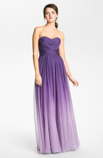 Purple Ombre... Would love to see this in different styles for each bridesmaid.