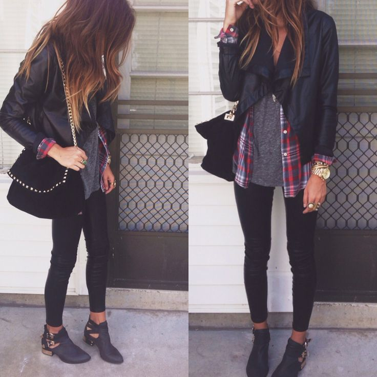 leather jacket, flannel, gray t-shirt, black jeggings, buckle booties