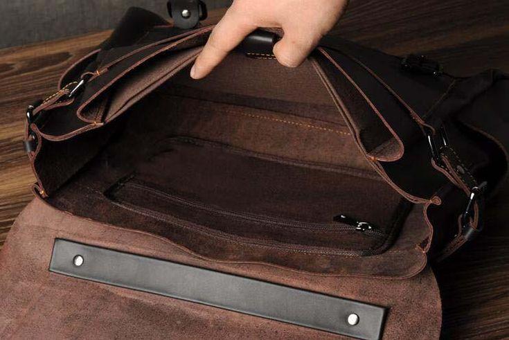 Leather Crossbody Shoulder Bag,Handmade Leather Briefcase,Laptop Briefcase GZ005 - Leajanebag