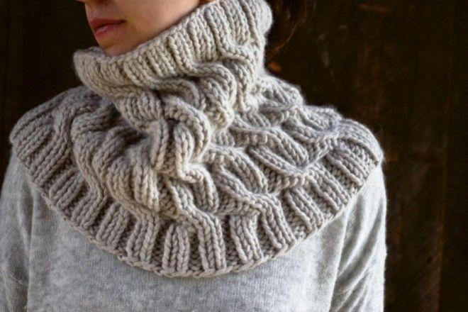Как связать снуд (шарф-хомут) косами: описание, схема, узор, фото