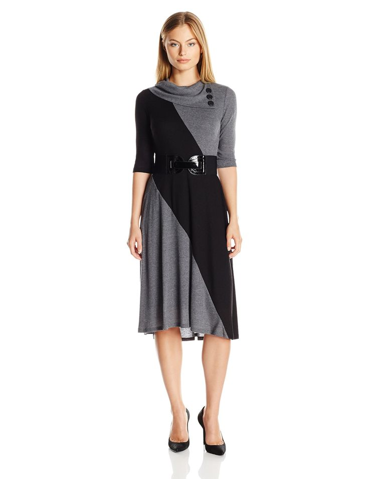 Robbie Bee Women's Petite Colorblock 3 Button Envelope Neck Dress, Black/Grey, PL. Short sleeves. Shrug.