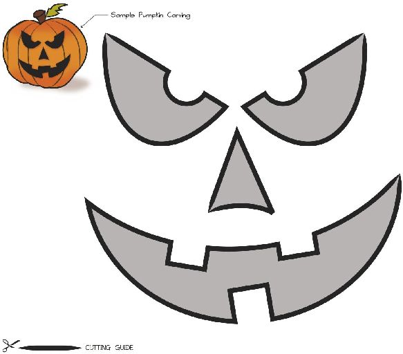Free printable easy funny jack o lantern face stencils