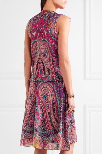 Etro - Ruffled Floral-print Silk Dress - Pink - IT42