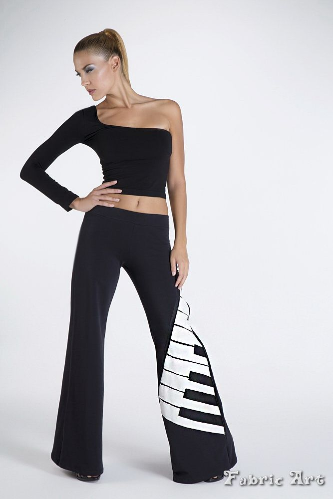 """Wide leg trousers with elastic waist band and handmade applique """"Abstract piano""""."""