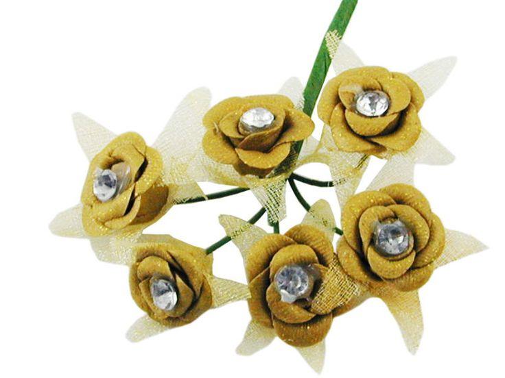 Mazzolino 6 fiori dorati con strass interno.