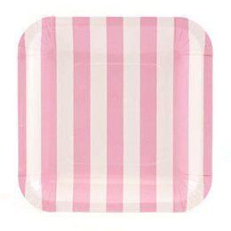 Paper Plates - Square Light Pink Stripes