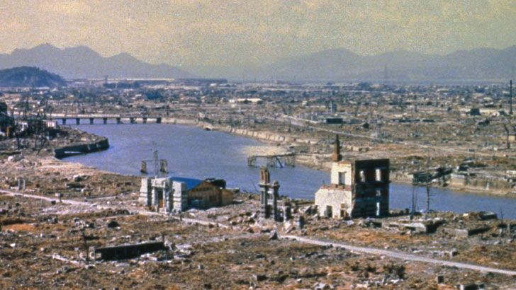 Hiroshima, Japan post war destruction in March 1946.   Hopefully, never again will we go atomic.