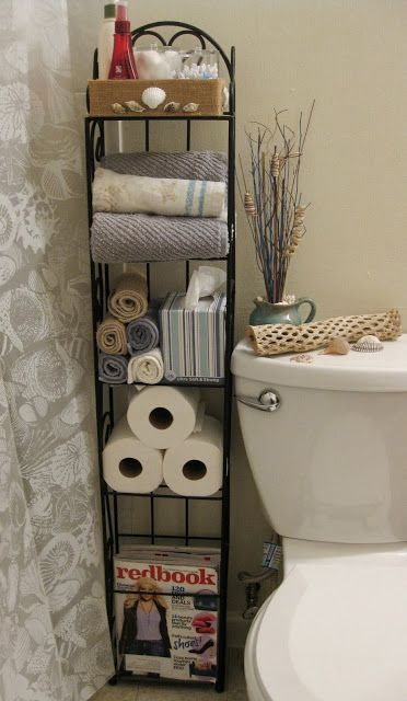 DUH! I have this sitting in my living room!! bathroom shelves  saruthdesigns: Repurposed DVD Rack