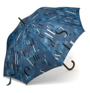 "Jeff Fisher ""Raining Letters"" Black & Navy Stick Umbrella"