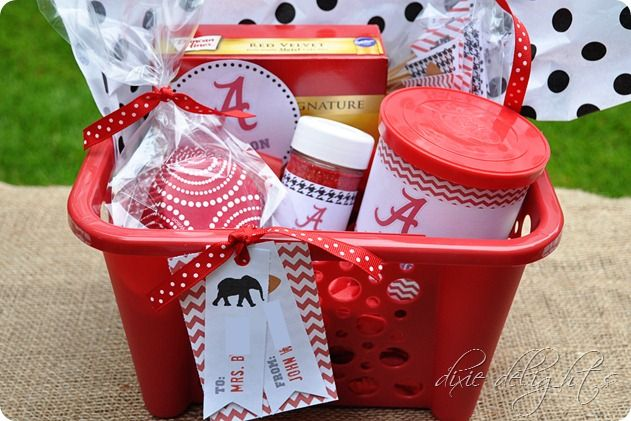 Alabama Football Gift Basket | created labels for the Crimson Cake, Fan Frosting and Spirit ...