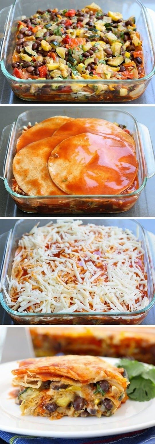 Roasted Vegetable Enchiladas- I made this and my son who doesn't like squash and zucchini ate it up! very good.