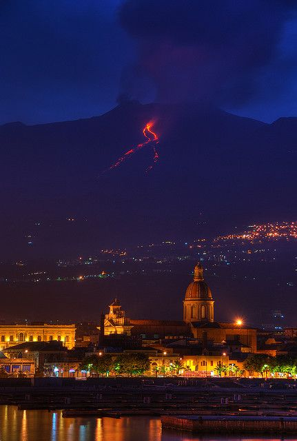 Mount Etna Eruption in Riposto; Sicily, Italy