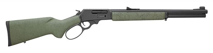 "Caliber 45-70 Govt. Capacity 6-shot, full-length tubular magazine Action Lever action with Wild West Guns style big loop finger lever; side ejection; solid-top receiver; stainless steel; tough FNC black finish, hammer block safety Stock Green laminate pistol grip stock with black webbing; deluxe recoil pad; swivel studs Barrel 18½"" with deep-cut Ballard-type rifling (6 grooves) Twist Rate 1:20"" r.h. Sights Adjustable Williams Fire Sights Overall Length 37"" Weight 8 lbs."