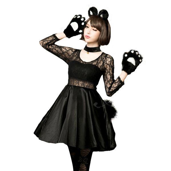 コスプレ 衣装 猫 ネコ ハロウィン 仮装 ネコ耳 黒猫 コスチューム かわいい trill
