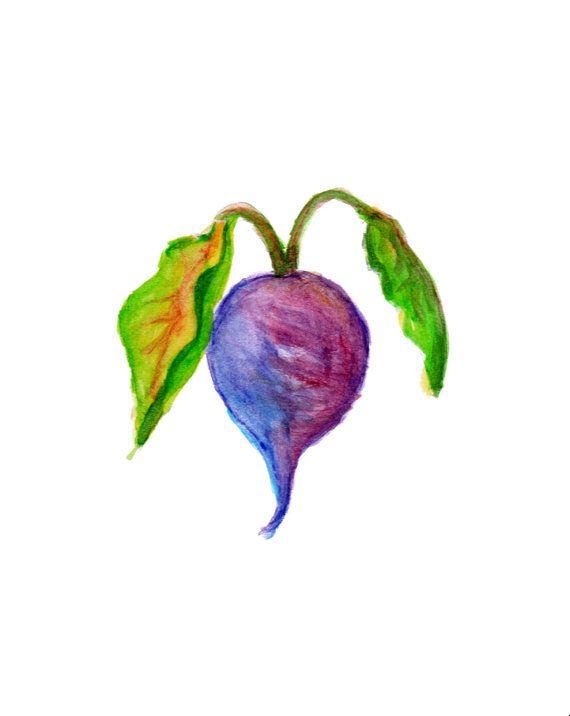 Beets Watercolor Painting Vegetable Art Print by OrangePeelPaperie