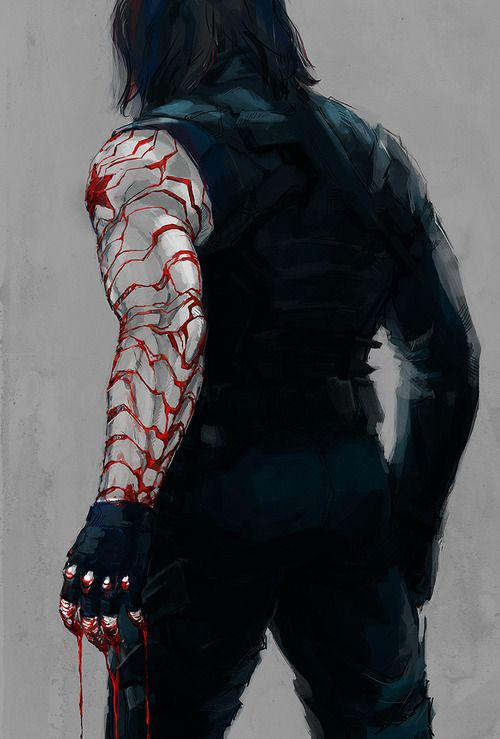 "Bucky — Oh Gosh, Why would you post something like that?! *cries*"" :'( Poor Bucky, and all the blood on his hands. What's going to happen when he remembers who he is and then realizes everything he's done as the Winter Soldier? D': This piece is wonderful in its chilling simplicity though."