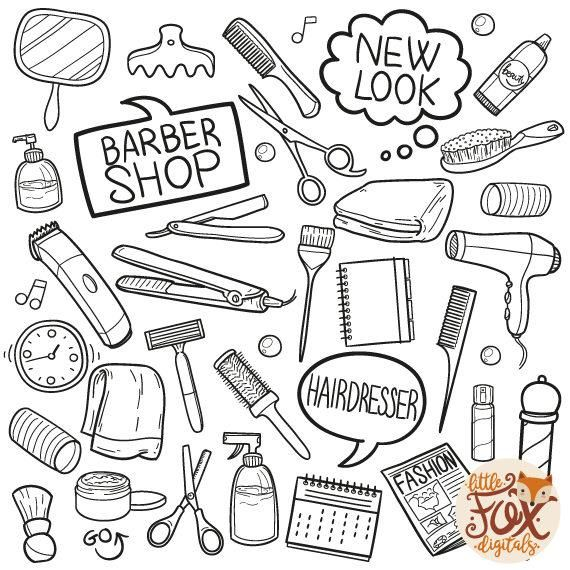 Barber Shop Doodle Icons Haidressing Shop Haidress Ladies Gentlemans Look Beauty And Care Fashion Woman Doodle Clipart Scrapbook Coloring In 2021 Doodle Icon Doodles Clip Art