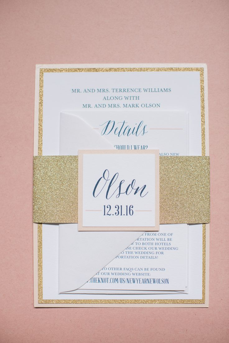 Gold Glitter Wedding Invitations for a New Year's Eve Wedding