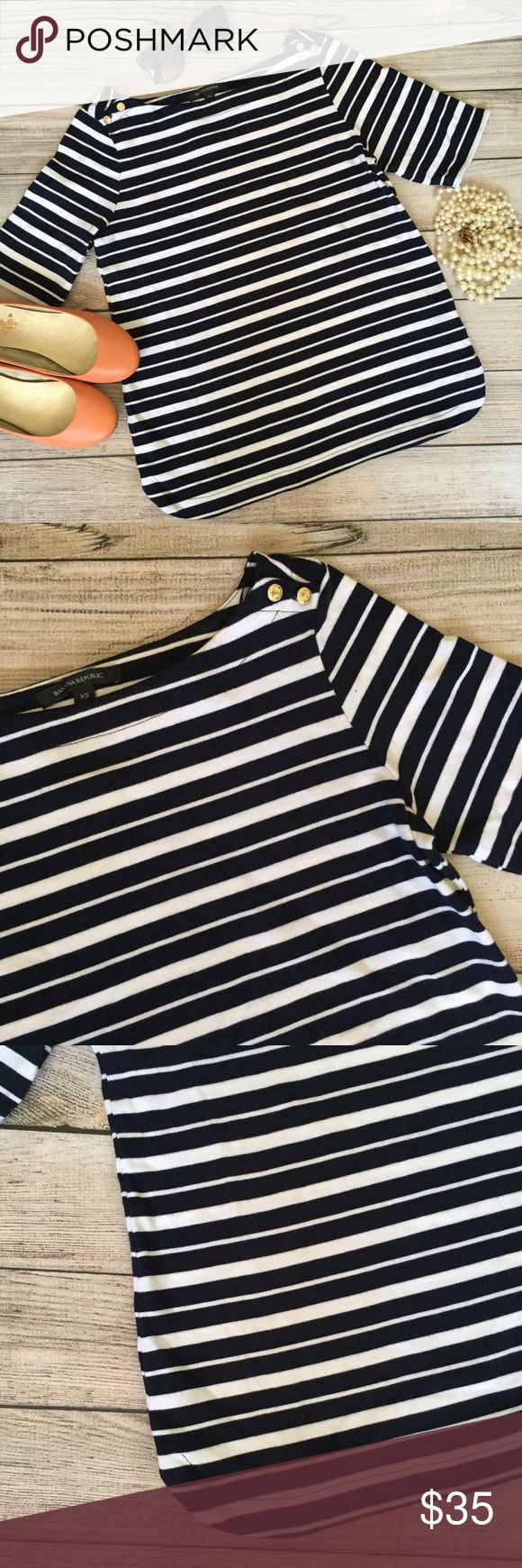 Banana Republic Top Navy and white stripes. Gold button detail at shoulder. Rounded hemline. NWT. Banana Republic Tops
