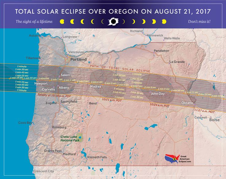 Total solar eclipse of 2017 over Oregon. The Oregon eclipse will pass over  the Willamette Valley, Madras, John Day, and other areas in Oregon. Oregon  eclipse. Great American Eclipse. 2017 solar eclipse. Solar eclipse 2017.  2017 eclipse.