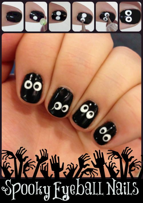 Spooky Eyeball Nails. Super cute halloween nail art. Just add some matte top coat to finish it off.