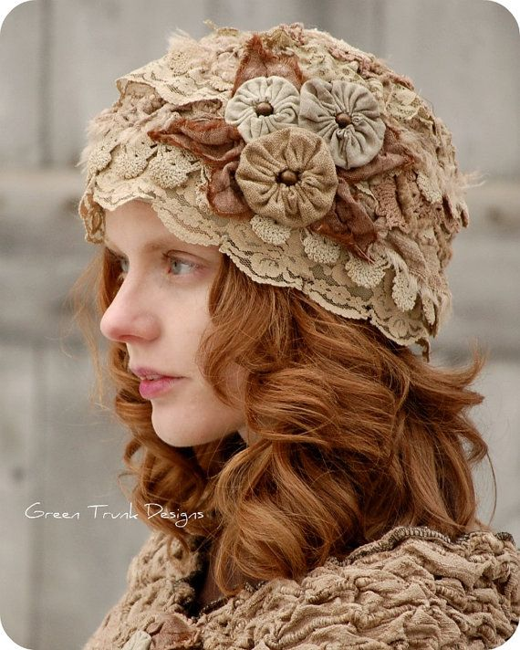 Lichen and Lace Cloche Hat and Shrug Earthy by GreenTrunkDesigns, soooo cute!!! C: