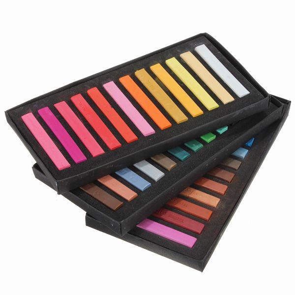36 colores en colores pastel temporal kit de peluquería plaza tiza colorante no tóxico