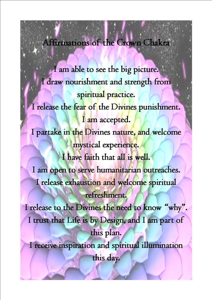 Crown Chakra Affirmations: Pic and words found online.