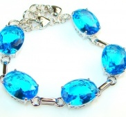 102 cttw. London Blue Topaz Sterling Silver Bracelet