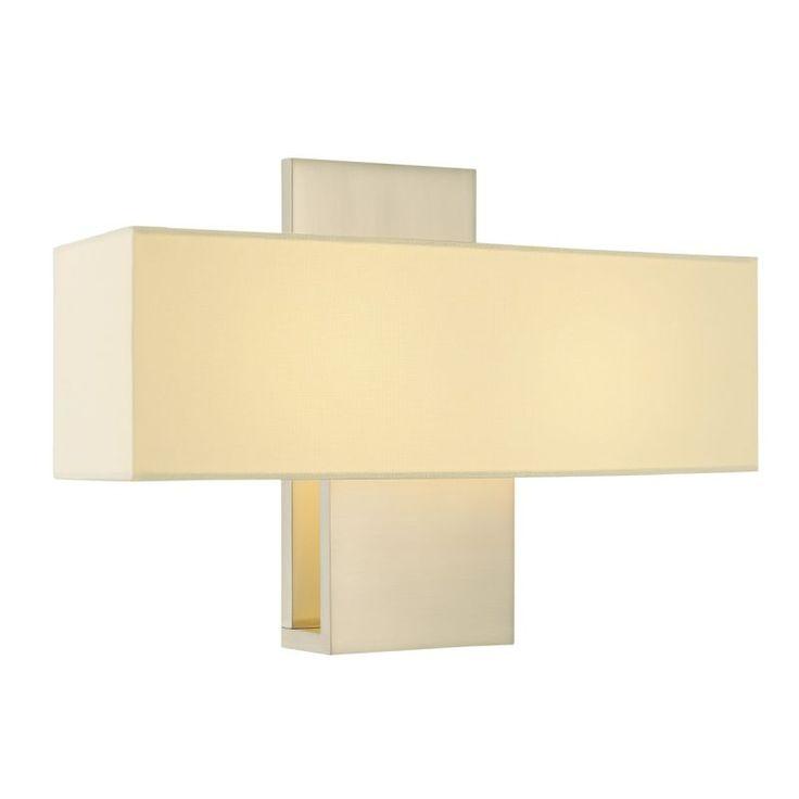 Sonneman 1861F Ombra 2 Light ADA Compliant Wall Sconce with Cream Linen Shade Satin Nickel Indoor Lighting Wall Sconces Wall Sconces