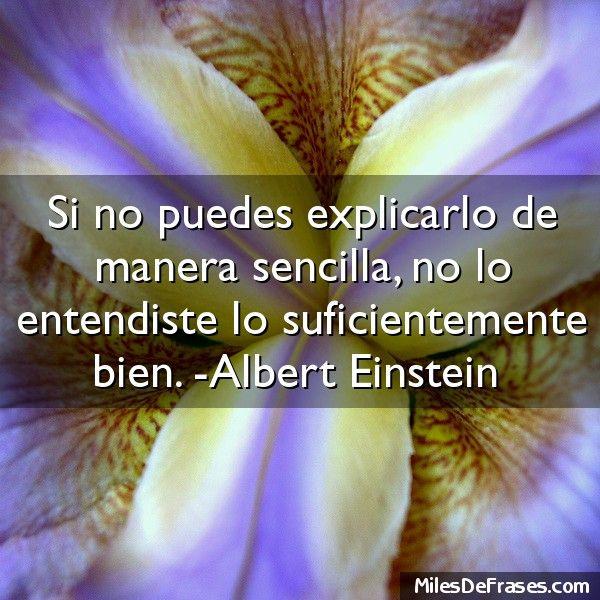 Si no puedes explicarlo de manera sencilla no lo entendiste lo suficientemente bien. -Albert Einstein