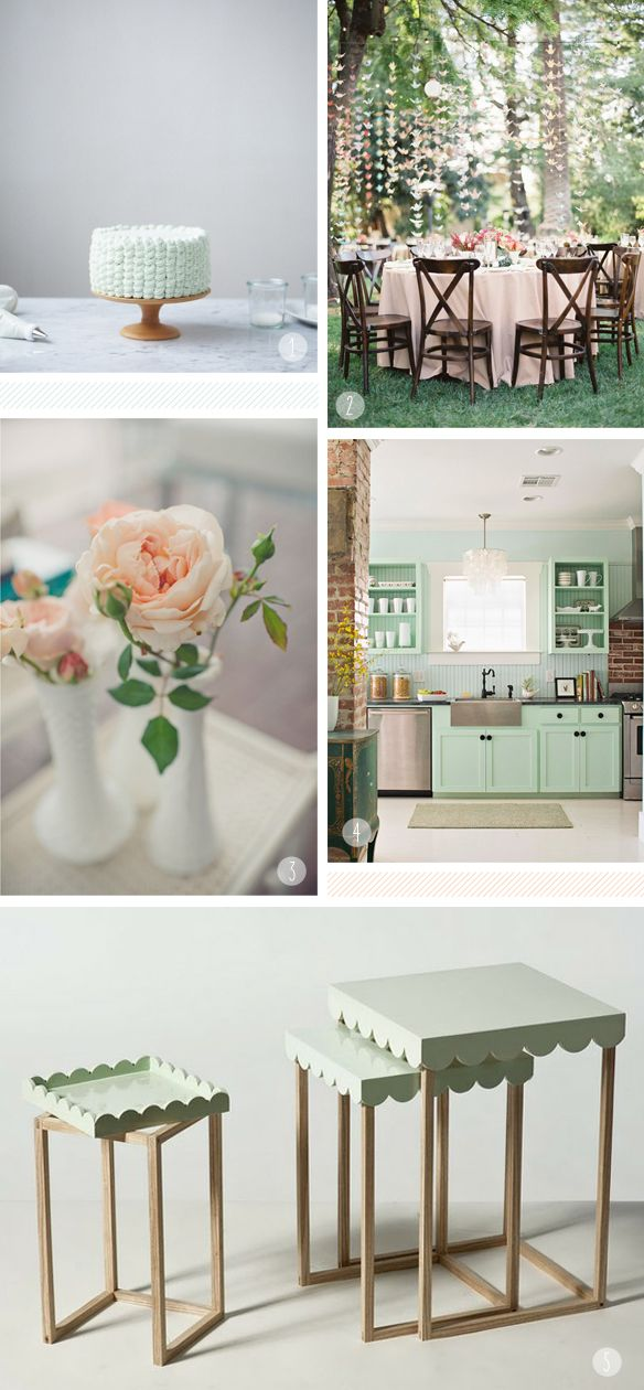 1. Medium Yellow Cedar Pedestal by Herriott Grace  2. Hanging Cranes photo by Jose Villa, on Style Me Pretty. Via.  3. Rose photo by Pobke Photography, on Style Me Pretty.  4. Mint kitchen from Better Homes and Gardens. Via.  5. 'Jenny' Tables by Maria Bjørlykke on Point of View. Via here and here.