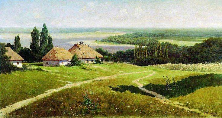 Украинский пейзаж с хатами. 1901 - Маковский Владимир Егорович
