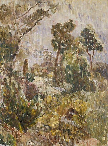 Arbusto na noite. 1947. Óleo no cartão duro. Grace Cossington Smith (Sydney, Nova Gales do Sul, Austrália, 20/04/1892 - 20/12/1984, Sydney, Nova Gales do Sul, Austrália). Encontra-se na Galeria de Arte de Nova Gales do Sul em Sydney, Nova Gales do Sul, Austrália.