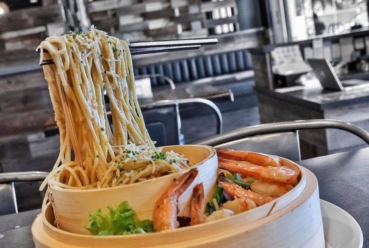 Floating noodles at Neptunes Raw Bar in Artesia