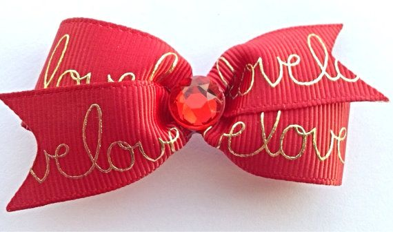 Red and gold hair bow Valentines dog hair bows Love by CreateAlley