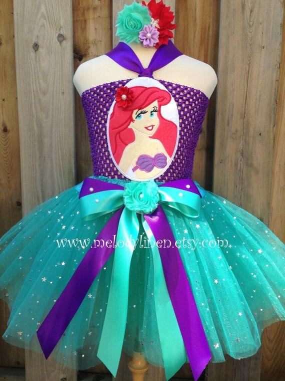 Mermaid tutu dress set mermaid headband Ariel tutu by Melodylinen