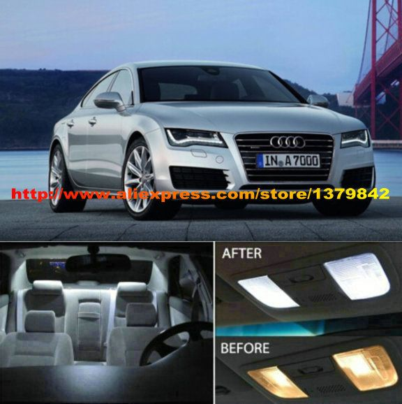 Free Shipping 3Pcs/Lot car-styling 12v Xenon White/Blue Package Kit LED Interior Lights For Audi A7 Prestige (B8F7) 2012-Present