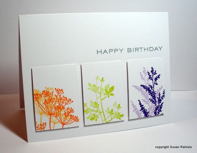 simple double stamping on rectangles card by Susan Raihala... (change sentiment)