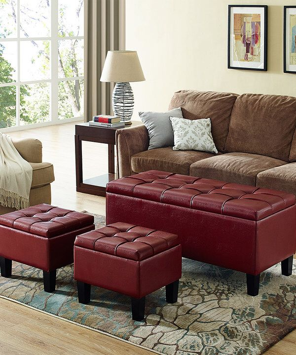 Look at this Radicchio Red Dover Three-Piece Storage Ottoman Bench Set on #zulily today!
