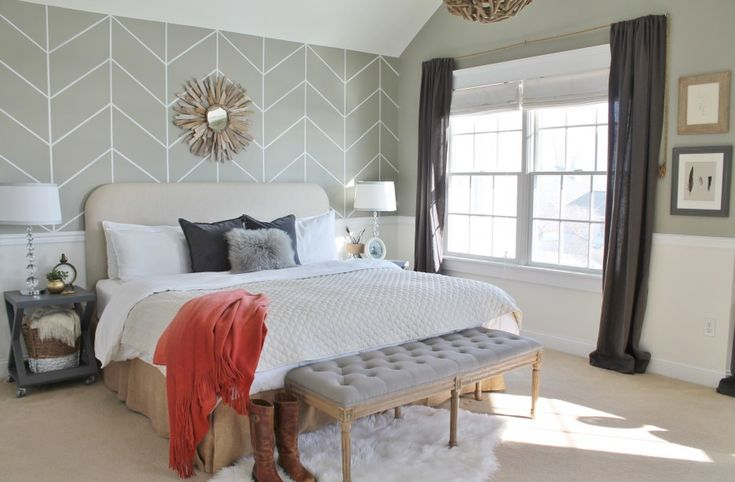 Bedroom. Endearing DIY Unique Headboard Decor Inspiration Featuring Pale White Leather Headboard With Sunlight Mirror Ornament And Chevron Grey Wallpaper Face Ideas. Unique Headboard Bedroom Decor