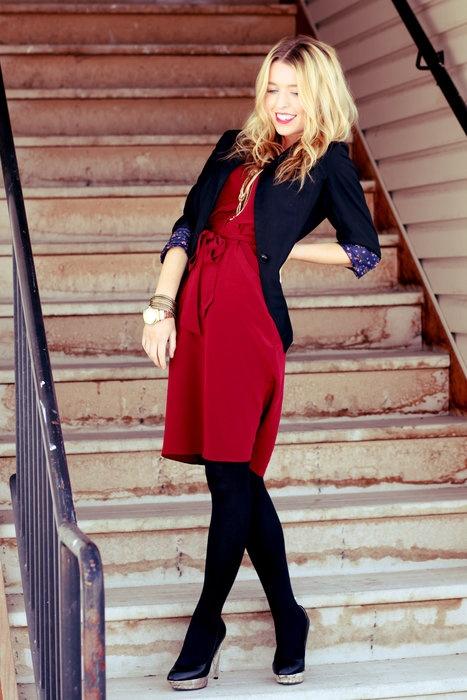Red dress with black blazer