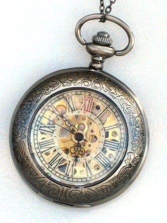 Steampunk Pocket Watch - DELUXE SHERLOCK HOLMES - Necklace - Mechanical - Gray Silver - Neo Victorian - GlazedBlackCherry. $54.99, via Etsy.