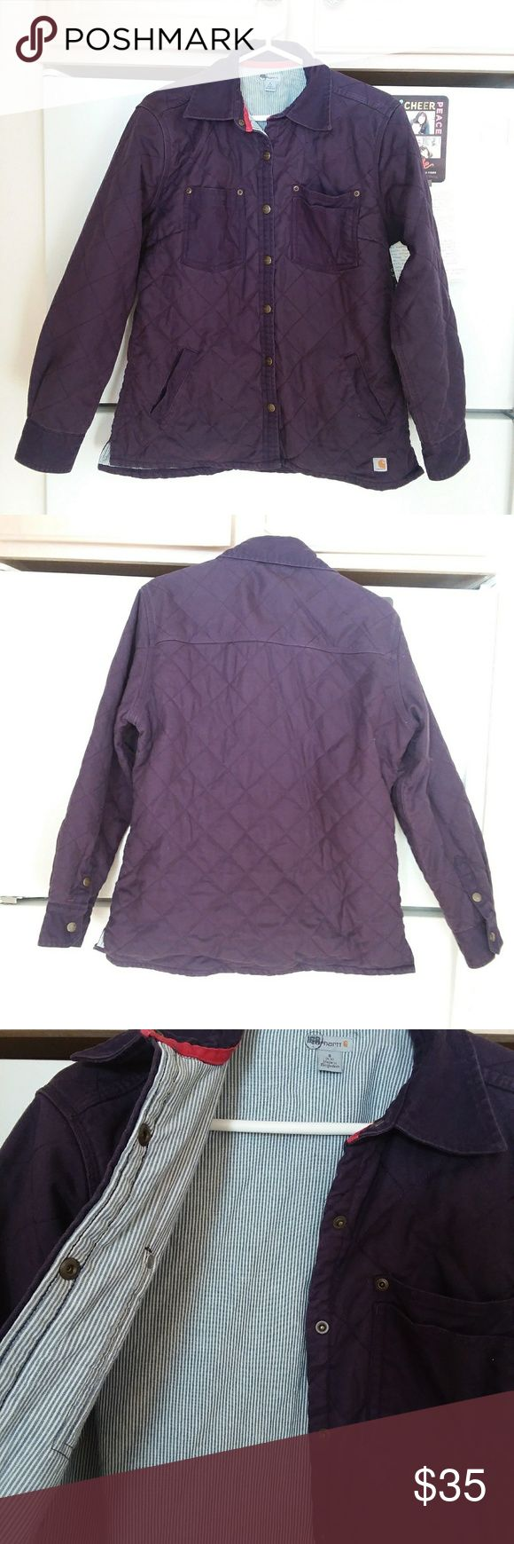 Carhartt Jacket Perfect condition, quilted women's jacket. Absolutely adorable pinstripes on the inside, and pockets on the front. The first picture is the most accurate representation of color.  Open to all offers! Carhartt Jackets & Coats